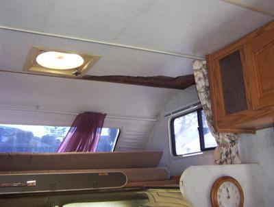 Inside Damage On Overhead Bunk Area